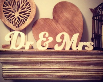 Wooden Wedding Letters - Dr & Mrs - New Funky Font - 15cm - free-standing