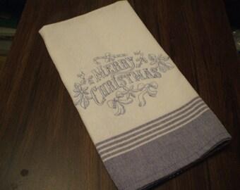Blue Christmas: Embroidered Tea Towel