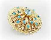 Vintage Blue Rhinestone Brooch Pin, Designer CORO, Gold Atomic Sunburst Brooch, Gold Filigree Brooch, 1950s Atomic Antique Costume Jewelry