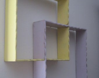 Shabby Chic Vintage  Pair of Shadow Boxes Wall Shelves in Lavender & Yellow