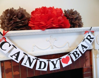 CANDY BAR Banner / Wedding Sweetheart Table Decoration Sign / Wedding Decoration / Candy Buffett Banner / You Pick the colors