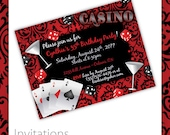 Casino Party Invitations - Casino Blush . Casino Birthday Invitation, Casino Event Invitation, Casino Invite, Printable Casino Invitation