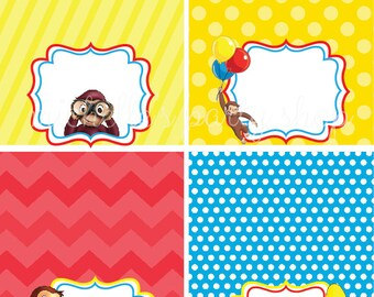 NEW - SET OF 12, Curious George Food Tent Cards, Place Cards