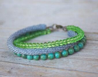 Green Grey - Multiple Strands - Beaded Bracelet