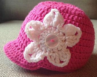 Crochet Beanie with Brim & 3 Flowers (Newborn, 3-6 month, 6-12 month sizes) - newborn, child, girl, women, knit, hat