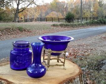 Cobalt Glass Serving Bowl On Ornate Brass Footed Base Collectors Estate Find Blue Decor Focal Element