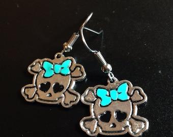 SALE! - Girly Skull Earrings in Custom Color