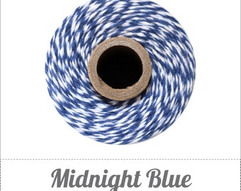 SALE 100% Cotton Twine Midnight Bakers Twine The Twinery 240 Yard Spool Midnight Blue and White Striped Twine