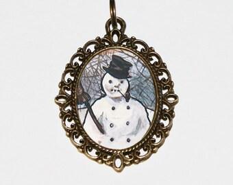 Snowman Necklace, Christmas Jewelry, Winter, Corn Cob Pipe, Bronze Oval Pendant, Stocking Stuffer