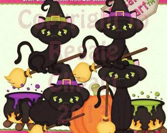 Halloween Kitties 2 Clipart (Digital Download ZIP file)