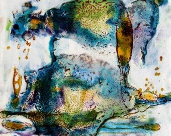 Original Encaustic Painting - Encaustic Abstract - Blue Green Amber - Encaustic Art - Square Painting - KLynnsArt