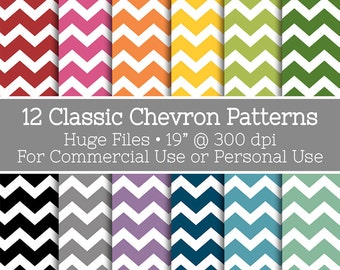 Colorful Chevron Pattern Clip Art - 12 Huge files for PODs and Commercial or Personal Use - Instant Download
