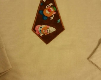 Appliqued Boys Tie White Tee Shirt 2T, 3T, 4T & Youth Sizes
