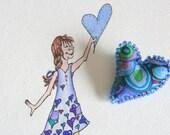 Gift Set Original Watercolor and Matching Fiber Art Heart Pin Valentines Day Kaffe Fassett One of a Kind