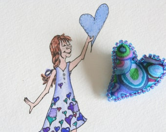 Gift Set Original Watercolor and Matching Fiber Art Heart Pin Valentines Day Kaffe Fassett One of a Kind