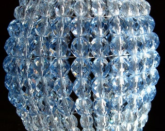 Large Pale Ice Blue, Faceted Glass, Beaded Light Bulb Shade, Beaded Bulb Cover, Lamp Shade, Pendant Light For Standard Size Light Bulbs