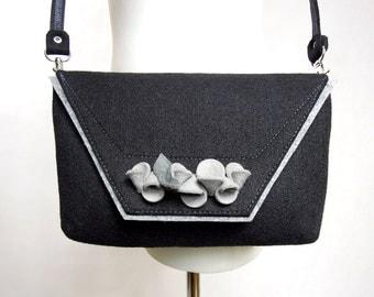 Lovely handmade fashionable small size felt bag felt purse felted wool handbag cross body with flowers - black and grey flowers