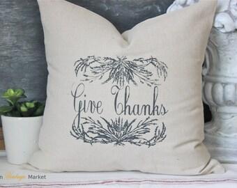 Pillow-Fall Pillow-Decorative Throw Pillow-Thanksgiving Pillow-Linen Pillow-Holiday Pillow-Farmhouse Pillow-Give Thanks-Vintage Pillow-