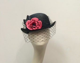 Parasisal bowler with handmade leather flower and vintage style veil