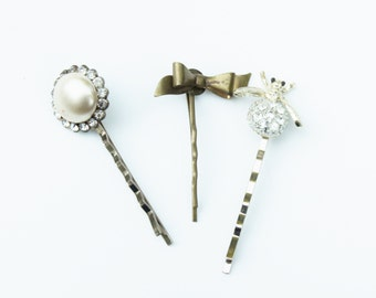 Set of Har Pins- Pearl Rhinestone, Gold Bow, Rhinestone Bug