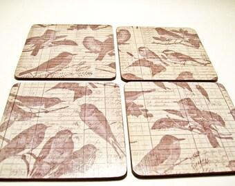 Birds Coasters Wooden Decoupaged