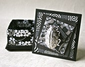 Handmade Box in Black and Silver with Pewter Beetle for Gift and Decor
