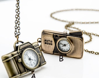 1pcs Camera Watch Charms Pendant with chain /pocket watch/Bridesmaid , Christmas gifts, friends, children's gifts