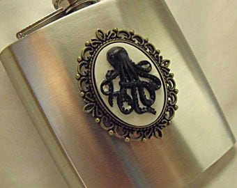 Flask,  Nautical Octopus Cameo,  Black on White Flask 6 Ounce Mens Womens Gift  Handmade
