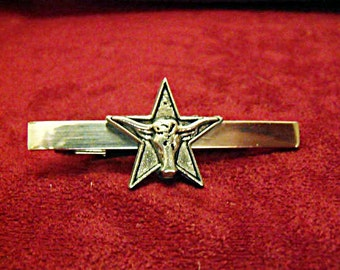Tie Bar Tie Clip,  Texas Silver Star and Steer  Mens Accessories  Handmade