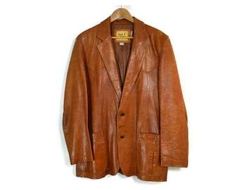 TONY LAMA Vintage Brown Leather Blazer / Jacket, Men's 42 / L
