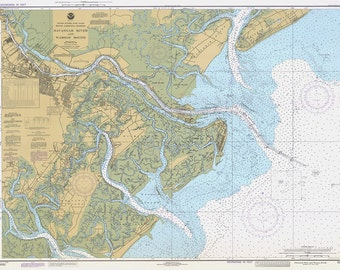 1982 Nautical Chart of Savannah River