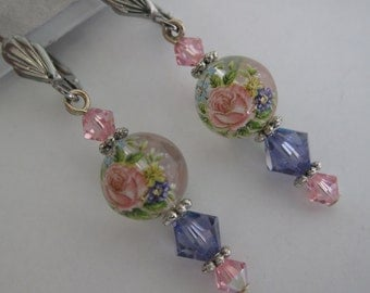 Pink and purple rose earrings with Swarovski crystal