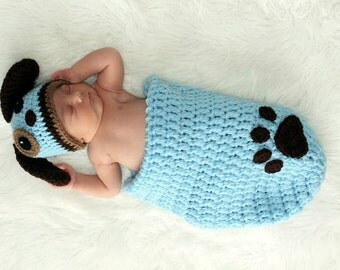 Puppy Dog Crochet Hat and Cocoon Set - Photo Prop - Available in 0 to 3 Month Size - Any Color Combination
