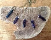 Long Flourite Crystal Point, Brass Necklace, Simple faceted rainbow Flourite  pendant, Purple