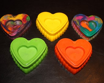 Recycled Crayons. Heart Crayons. Kids Crayons. Party Favors. Large Heart Crayons. Valentine Crayons. Crayons. Rainbow Crayons.