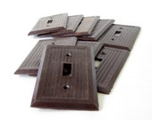 Brown Switch Plate Covers Bryant Hemco Single Gang Switch Wall Plates 1940s Ribbed Switchplates