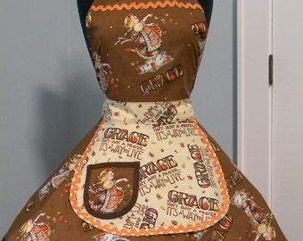 WOMENS APRON-The Harvest Grace Thanksgiving Maid Style Apron
