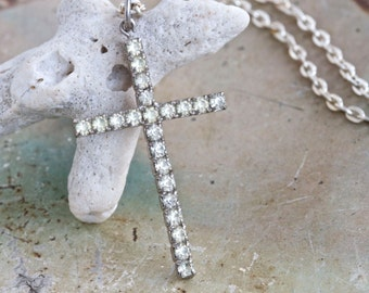 Rhinestone Encrusted Cross Necklace