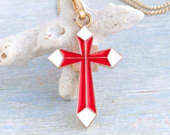Red Enamel Cross Necklace - Religious Jewelry