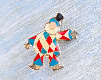 Harlequin Lapel Pin - Colorful Clown Badge - Quirky Jewelry