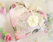 Heart Sachet 5 inch Sachet Heart, Ivory Rose Blue Green, Lavender Buds, Folk Art, Handmade CharlotteStyle Decorative Folk Art