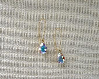 Aurora Borealis Swarovski Crystal Earrings, Pear Shape, Gold, Sparkly Earrings, Kidney Ear Wires