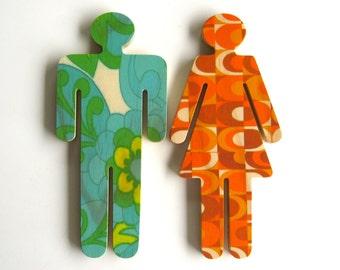 Objectify Bathroom Female/Male Sign Figures - Retro Pattern