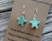 Handmade Ceramic Dangle Sea Star Earrings / Turquoise