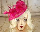 Hot Pink Fascinator Hat - Fuchsia Kentucky Derby Hat - Pink Tea Party Hat, British Fascinator Headband, Fancy Church Hat