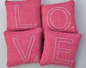 Valentines Day LOVE Decorative Pillows - Scrabble Letter Bowl Fillers - Pink Burlap Tucks - Wedding Anniversary Gift - Red Hearts Home Decor