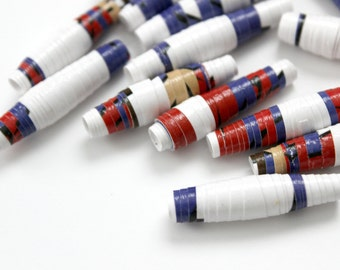 Pop Art Paper Beads - Mid Century - Superman Beads - Super Hero - Comic Book Art - Retro Modern - Hand Rolled - Colorful Jewelry Supplies