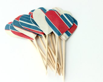 12 Wonder Women Cupcake Toppers, Red White Blue, Birthday Party