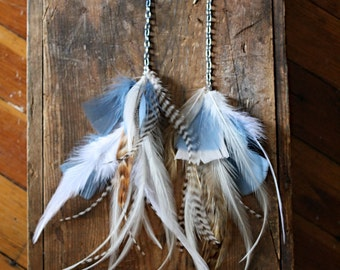 Blue and White Feather Earrings, Natural Feather Earrings, 14 Inches Long, Natural Feather Hair Extensions, Long feather earrings