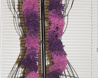 Purple Fuzzy Ruffle Scarf